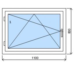 Okno plastové š.1100/v.800, bílá/zlatý dub, levé