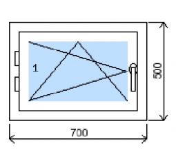 Okno plastové š.700/v.500 bílá/bílá, levé