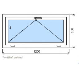 Okno plastové š.1200/v.600, bílá/bílá, výklopné