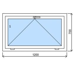 Okno plastové š.1200/v.700, bílá/bílá, výklopné