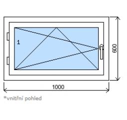 Okno plastové š.1000/v.600, bílá/zlatý dub, levé