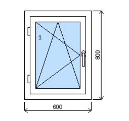 Okno plastové š.600/v.800, bílá/zlatý dub, levé