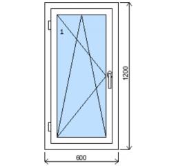 Okno plastové š.600/v.1200, bílá/zlatý dub, levé