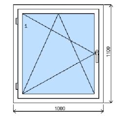 Okno plastové š.1000/v.1100, bílá/bílá, levé