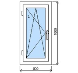 Okno plastové š.500/v.1000, bílá/zlatý dub, levé