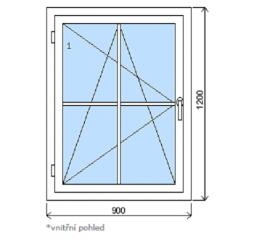 Okno plastové š.900/v.1200, bílá/bílá, s mřížkou