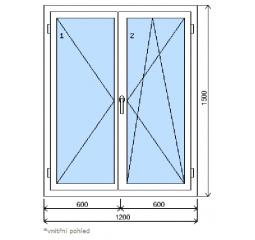 Okno plastové š.1200/v.1500, bílá/bílá, dvoukřídlé