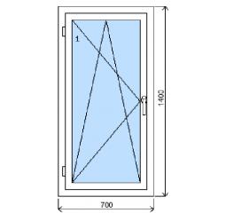 Okno plastové š.700/v.1400 bílá/bílá