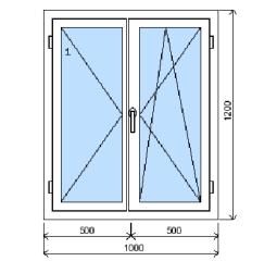 Okno plastové š.1000/v.1200, bílá/bílá, dvoukřídlé