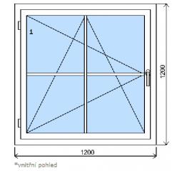 Okno plastové š.1200/v.1200 bílá/zlatý dub mřížka