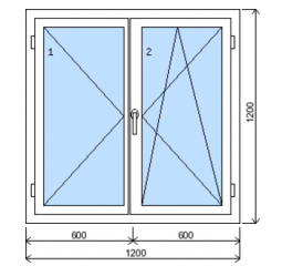 Okno plastové š.1200/v.1200. bílá/zlatý dub, dvoukřídlé