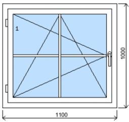Okno plastové š.1100/v.1000 bílá/zlatý dub mřížka