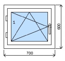 Okno plastové š.700/v.600, bílá/zlatý dub, levé