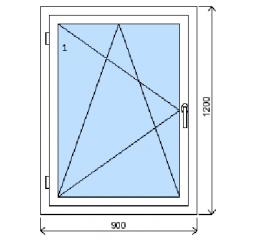 Okno plastové š.900/v.1200, bílá/bílá, levé
