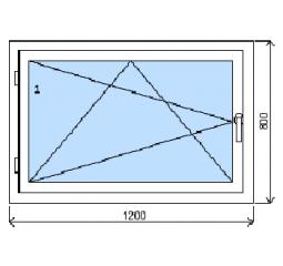 Okno plastové š.1200/v.800, bílá/bílá, levé