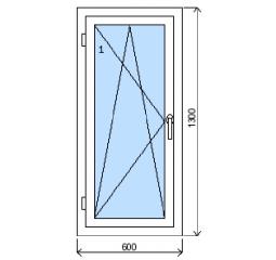 Okno plastové š.600/v.1300, bílá/bílá, levé