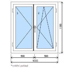 Okno plastové š.1000/v.1100 bílá/zlatý dub, dvoukřídlé