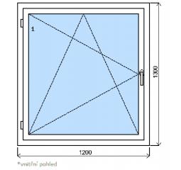 Okno plastové š.1200/v.1300, bílá/zlatý dub, levé