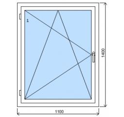 Okno plastové š.1100/v.1400, bílá/zlatý dub, levé
