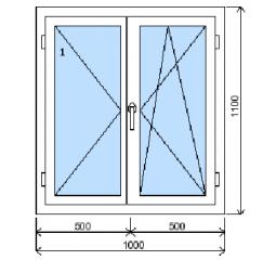 Okno plastové š.1000/v.1100 bílá/bílá, dvoukřídlé