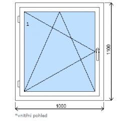 Okno plastové š.1000/v.1100, bílá/zlatý dub, levé
