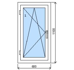 Okno plastové š.600/v.1100, bílá/bílá, levé