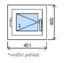 Okno plastové š.451/v.400 bílá/bílá
