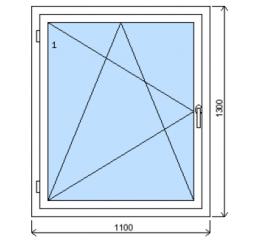 Okno plastové š.1100/v.1300, bílá/zlatý dub, levé