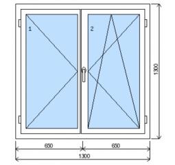 Okno plastové š.1300/v.1300, bílá/zlatý dub, dvoukřídlé