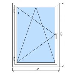 Okno plastové š.1100/v.1500, bílá/bílá, levé