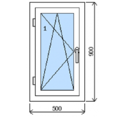 Okno plastové š.500/v.900, bílá/zlatý dub, levé