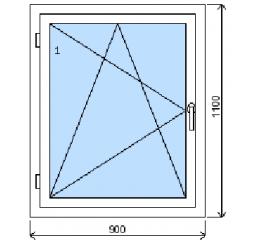 Okno plastové š.900/v.1100 bílá/bílá, levé