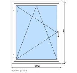 Okno plastové š.1200/v.1500, bílá/zlatý dub, levé