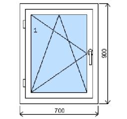 Okno plastové š.700/v.900, bílá/bílá, levé
