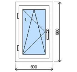 Okno plastové š.500/v.800, bílá/zlatý dub, levé