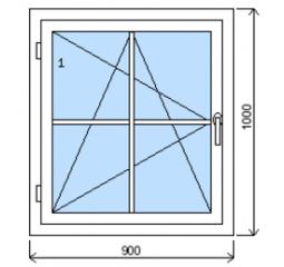 Okno plastové š.900/v.1000 bílá/zlatý dub mřížka