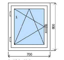 Okno plastové š.700/v.800, bílá/zlatý dub, levé