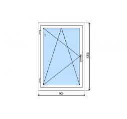 Okno plastové š.900/v.1300, bílá/zlatý dub, levé