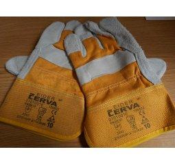 Rukavice pracovní kožené žluté