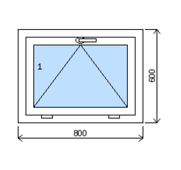 Okno plastové š.800/v.600, bílá/bílá, výklopné