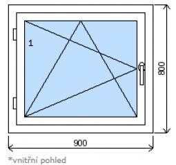 Okno plastové š.900/v.800, bílá/zlatý dub, levé