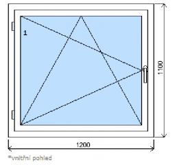 Okno plastové š.1200/v.1100, bílá/zlatý dub, levé