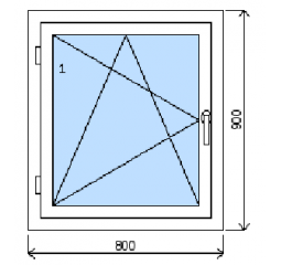 Okno plastové š.800/v.900, bílá/bílá, levé