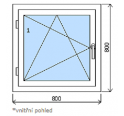 Okno plastové š.800/v.800, bílá/bílá, levé