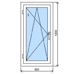 Okno plastové š.600/v.1200, bílá/bílá, levé