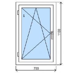 Okno plastové š.700/v.1100, bílá/bílá, levé