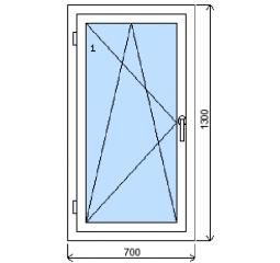 Okno plastové š.700/v.1300 bílá/bílá