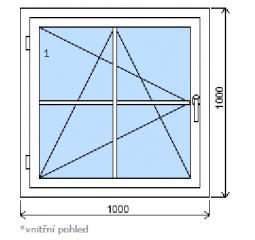 Okno plastové š.1000/v.1000, bílá/bílá, s mřížkou