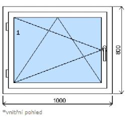 Okno plastové š.1000/v.800, bílá/zlatý dub, levé