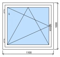 Okno plastové š.1100/v.1000, bílá/zlatý dub, levé